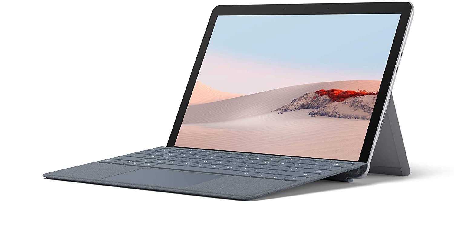 Microsoft Surface Go 2 at an angle on a white background