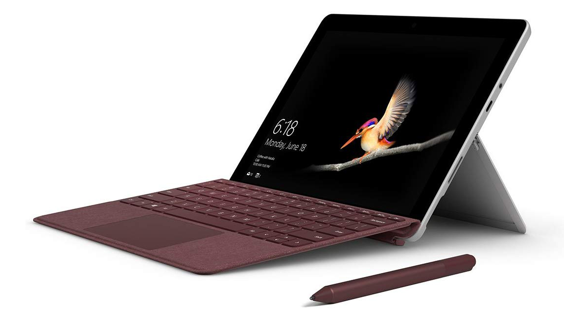 Microsoft Surface Go at an angle on a white background