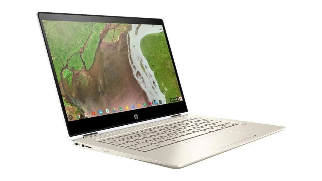 HP Chromebook x360 at an angle on a white background