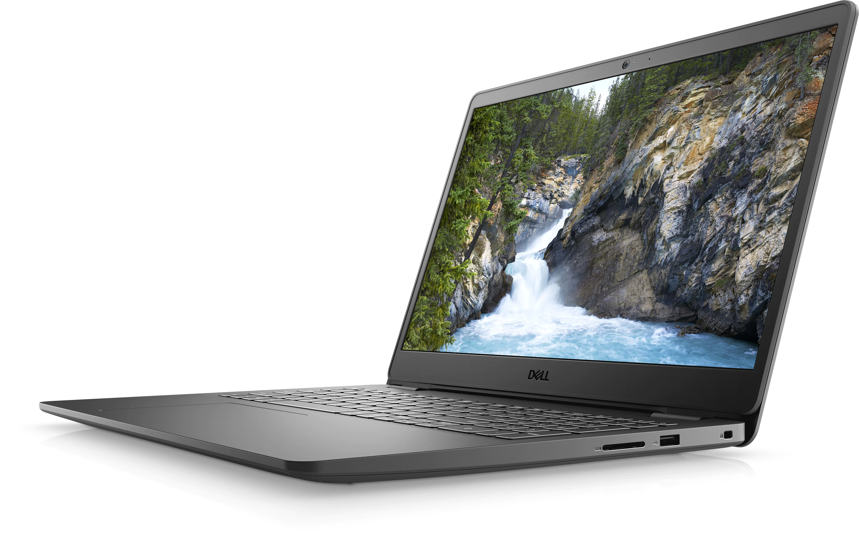 Dell Inspiron 15 3000 at an angle on a white background