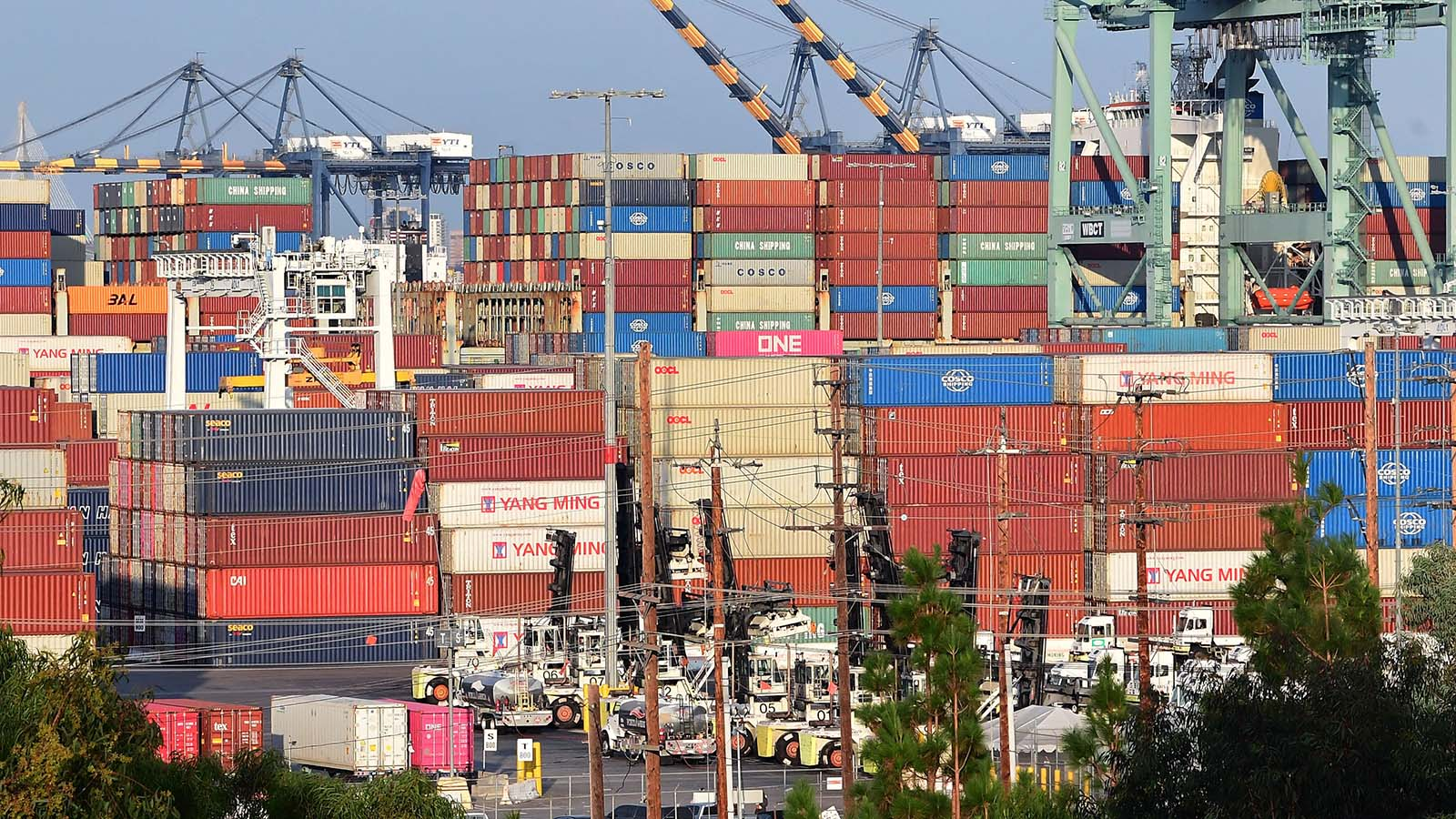 Containers stacked high are seen at the Port of Los Angeles on September 28, 2021 in Los Angeles, California