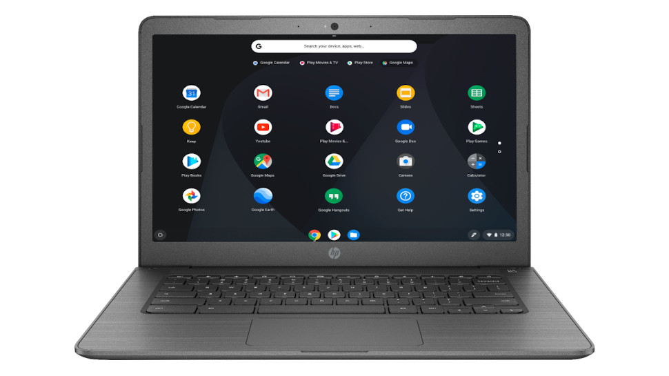 HP Chromebook 14 from the front on a white background