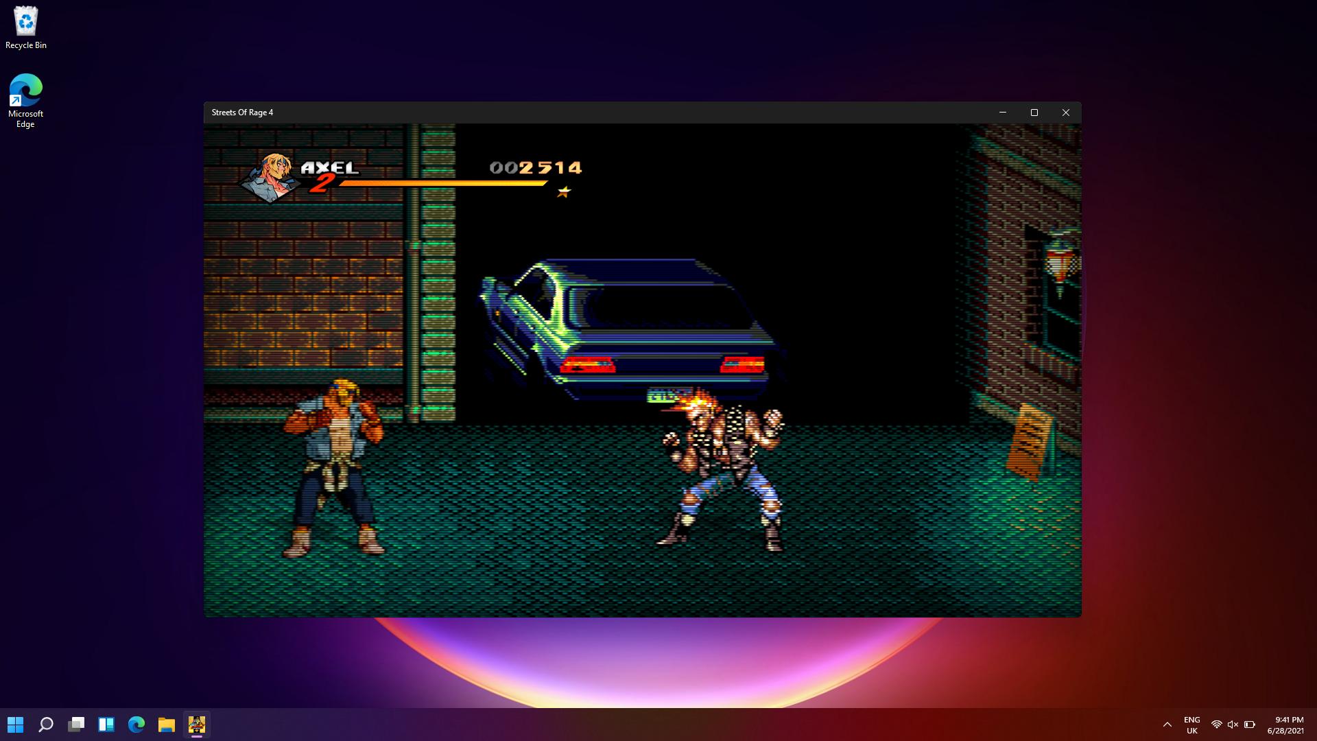 Streets of Rage 4 running on Windows 11