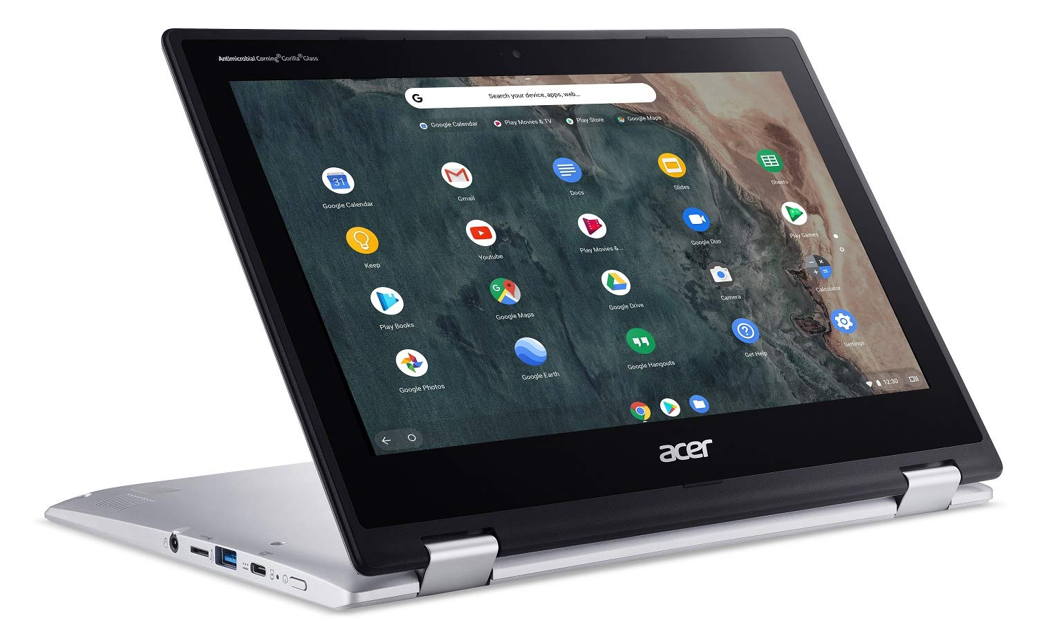 Acer Chromebook Spin 311 in stand mode at an angle on a white background