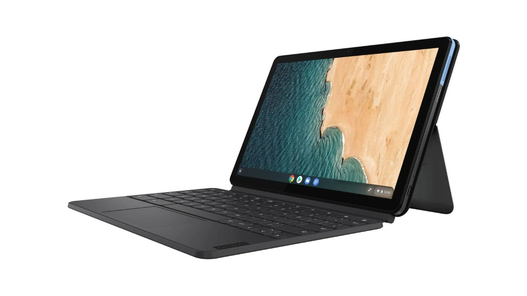 Lenovo Ideapad Duet Chromebook at an angle on a white background